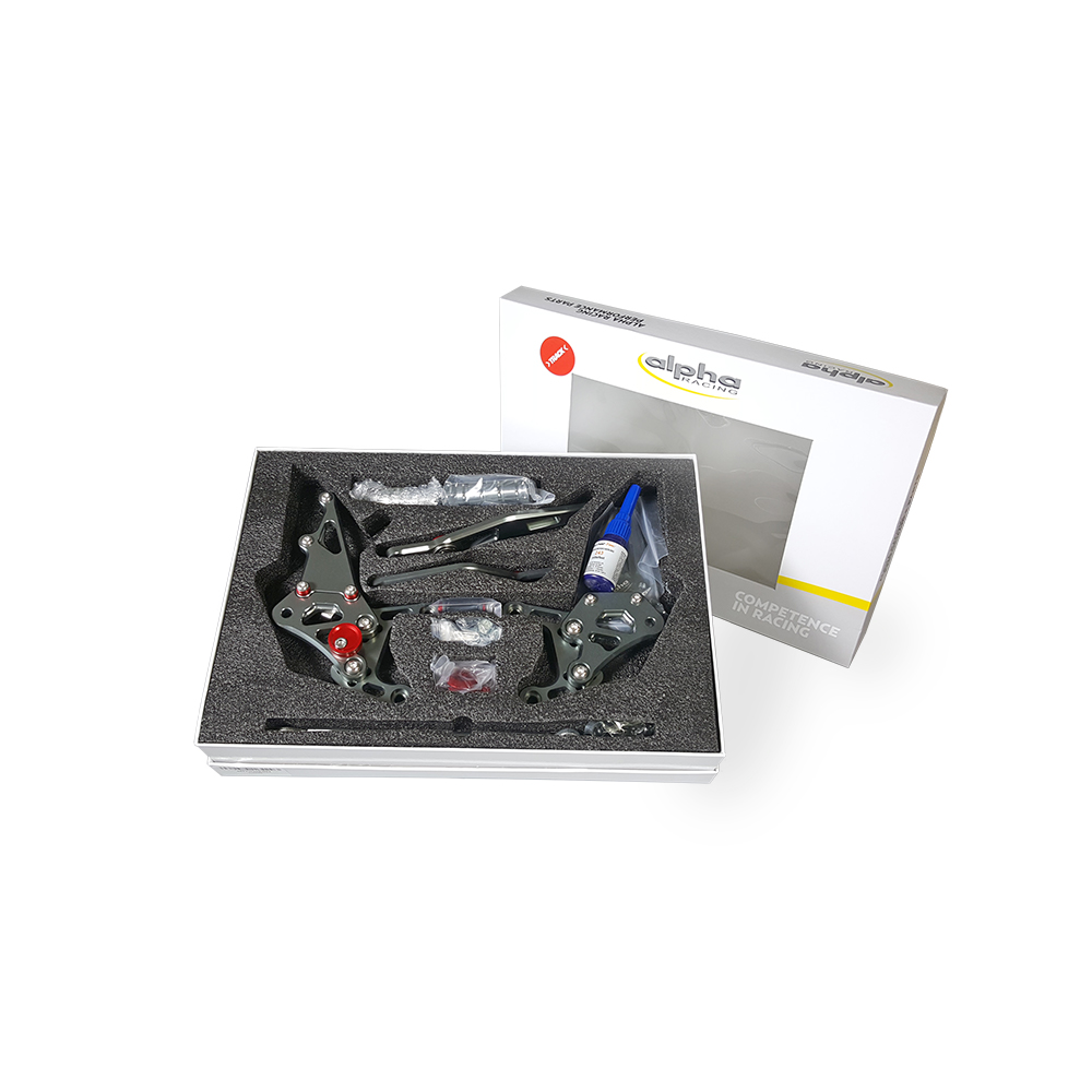>TRACK< Fußrastenanlage titanfarben Yamaha YZF-R1 RN32 2015-16 RN49 2017-19 RN65 2020- ABE