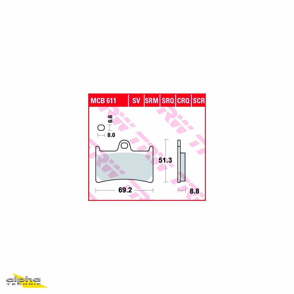 TRW LUCAS Bremsbelagsatz Sinter-Carbon MCB611SCR
