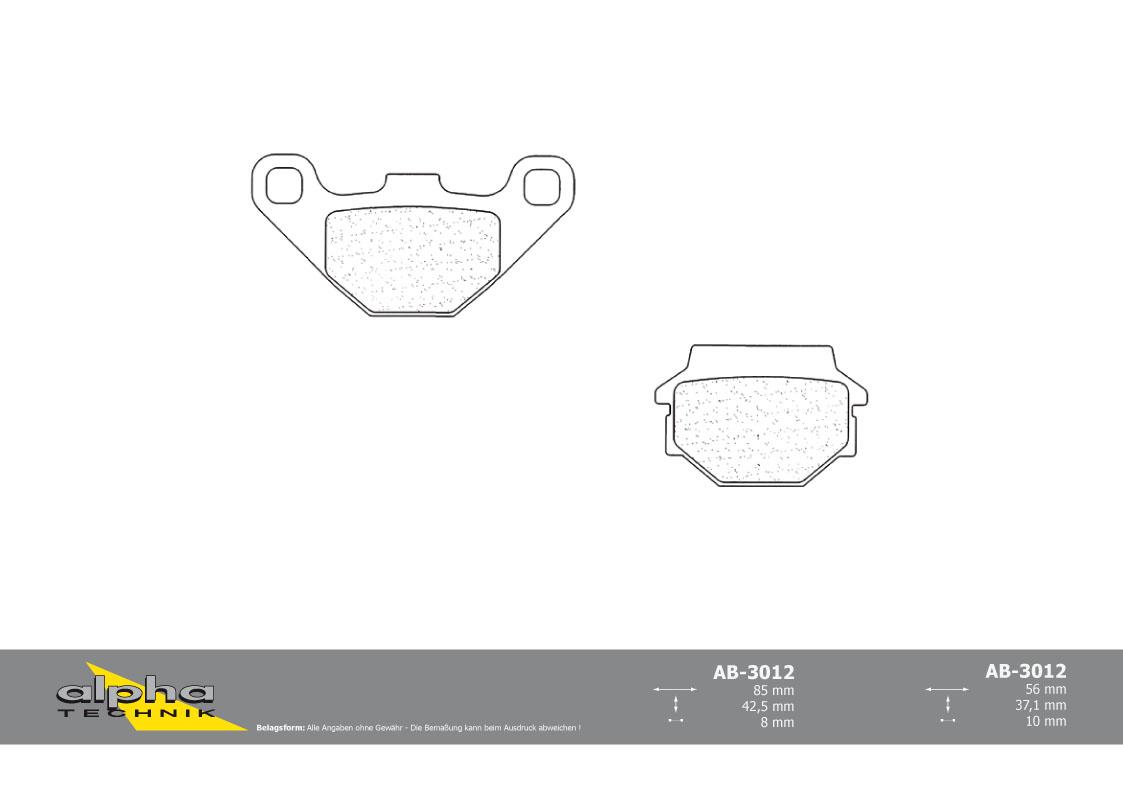 AB13 alpha Technik Sintermetall Bremsbelagpaar für Scooter mit ABE
