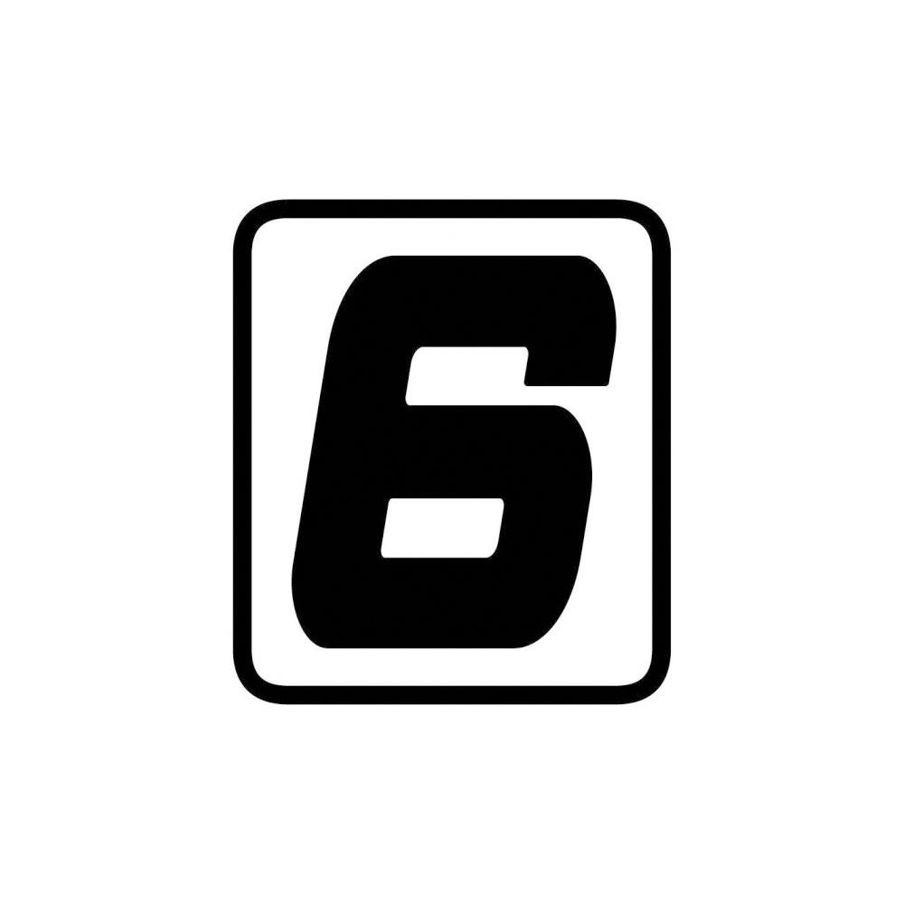 "Barracuda Startnummern Aufkleber ""6"""