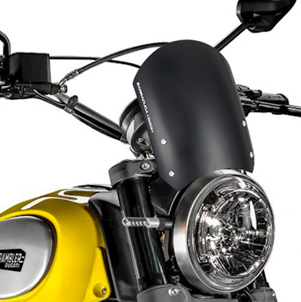 Barracuda Windschild Aerosport Aluminium Schwarz für Ducati Scrambler (2015 - 2017)