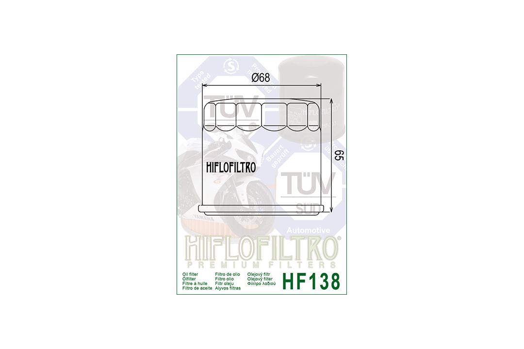 HIFLO Ölfilter HF138 für diverse Aprilia / Bimota / Cagiva / Kawasaki / Kymco / Sachs / Suzuki Modelle