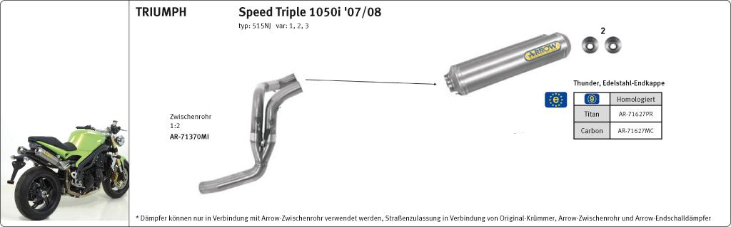 ARROW Round-Sil Speed Triple 1050i 05-08 Carbon