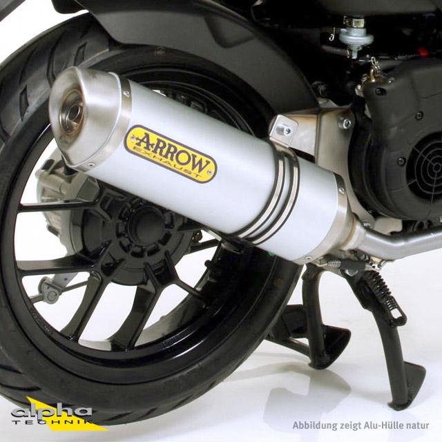 ARROW Auspuff THUNDER für Aprilia SR125 2012-2016, Aluminium schwarz (Nur mit ARROW Krümmer)
