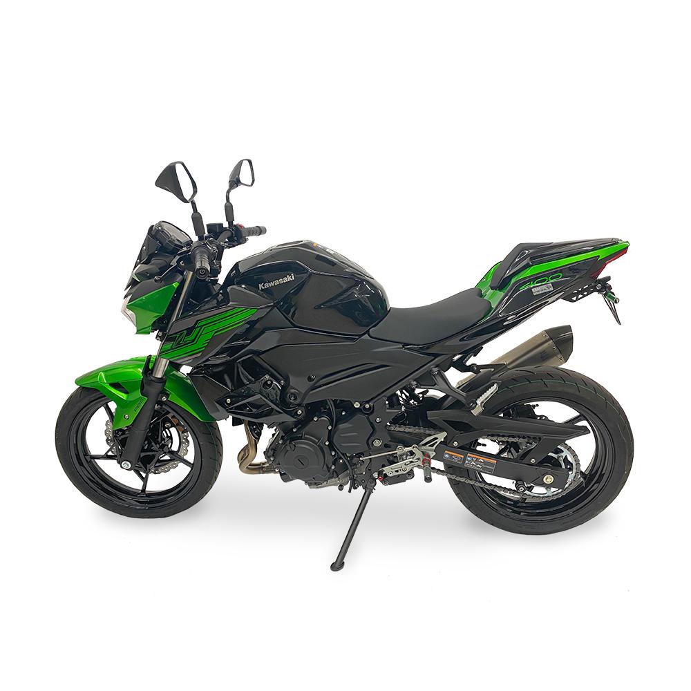 >TRACK< Fußrastenanlage schwarz Kawasaki Ninja 400 ab 2018 / Z400 ab 2019 ABE
