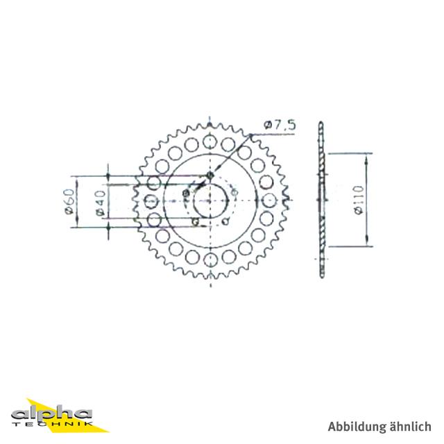 Esjot Kettenrad Z-38 KTM SX50 Pro Senior LC, Alu