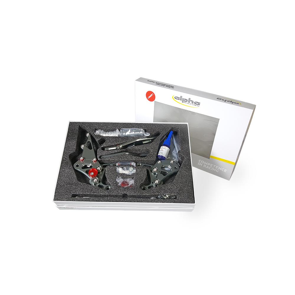 >TRACK< Fußrastenanlage titanfarben Yamaha YZF-R6 RJ15 2006-2016 ABE