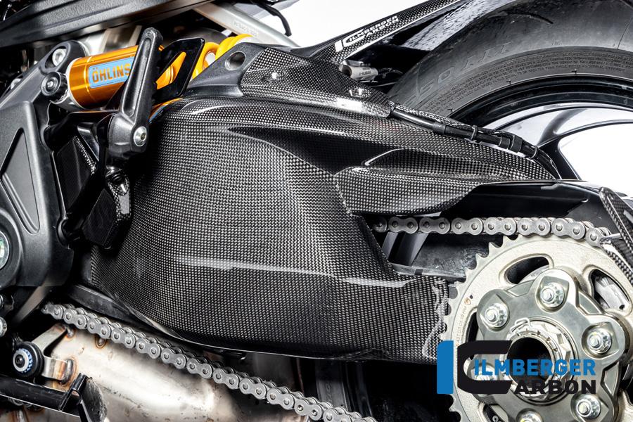Ilmberger Carbon Schwingenabdeckung inkl. Kettenschutz, glänzend, für Ducati Diavel 1260 ab Modelljahr 2019-