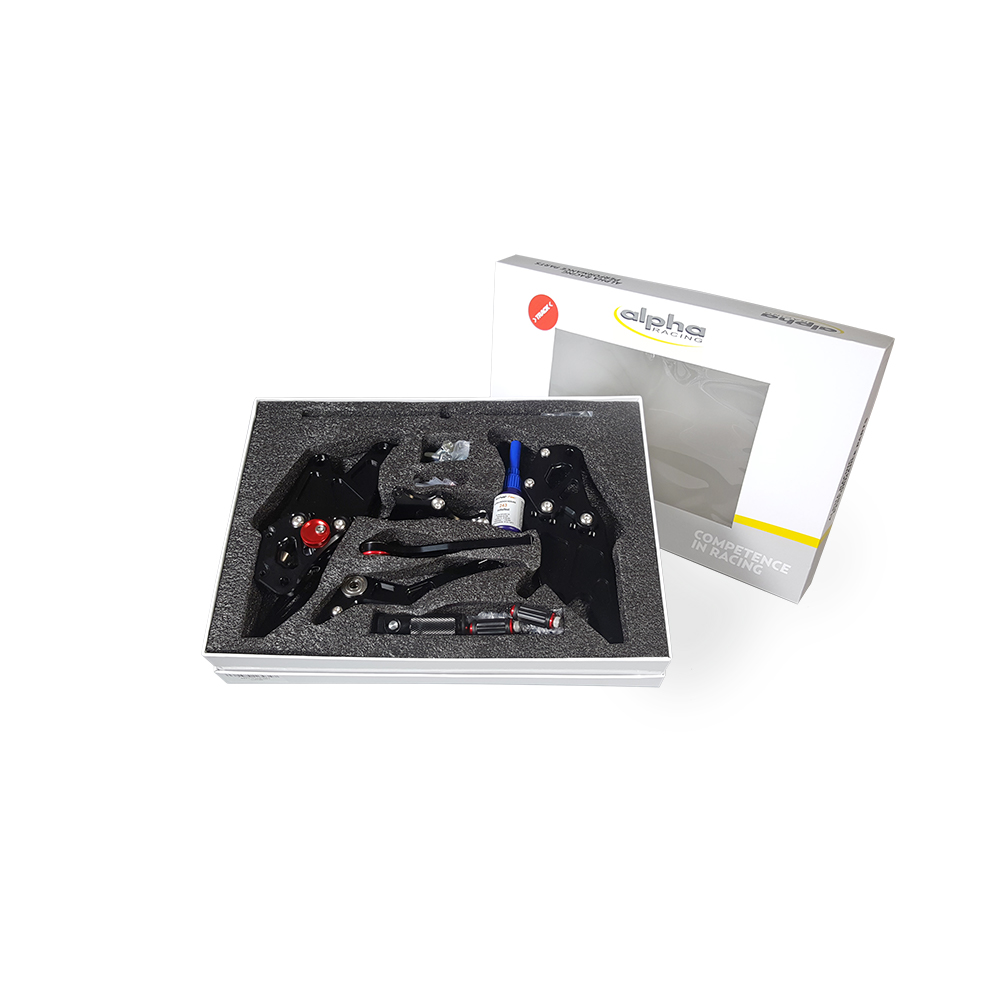 >TRACK< Fußrastenanlage schwarz Yamaha YZF-R1 RN32 2015-16 RN49 2017-19 RN65 2020- ABE