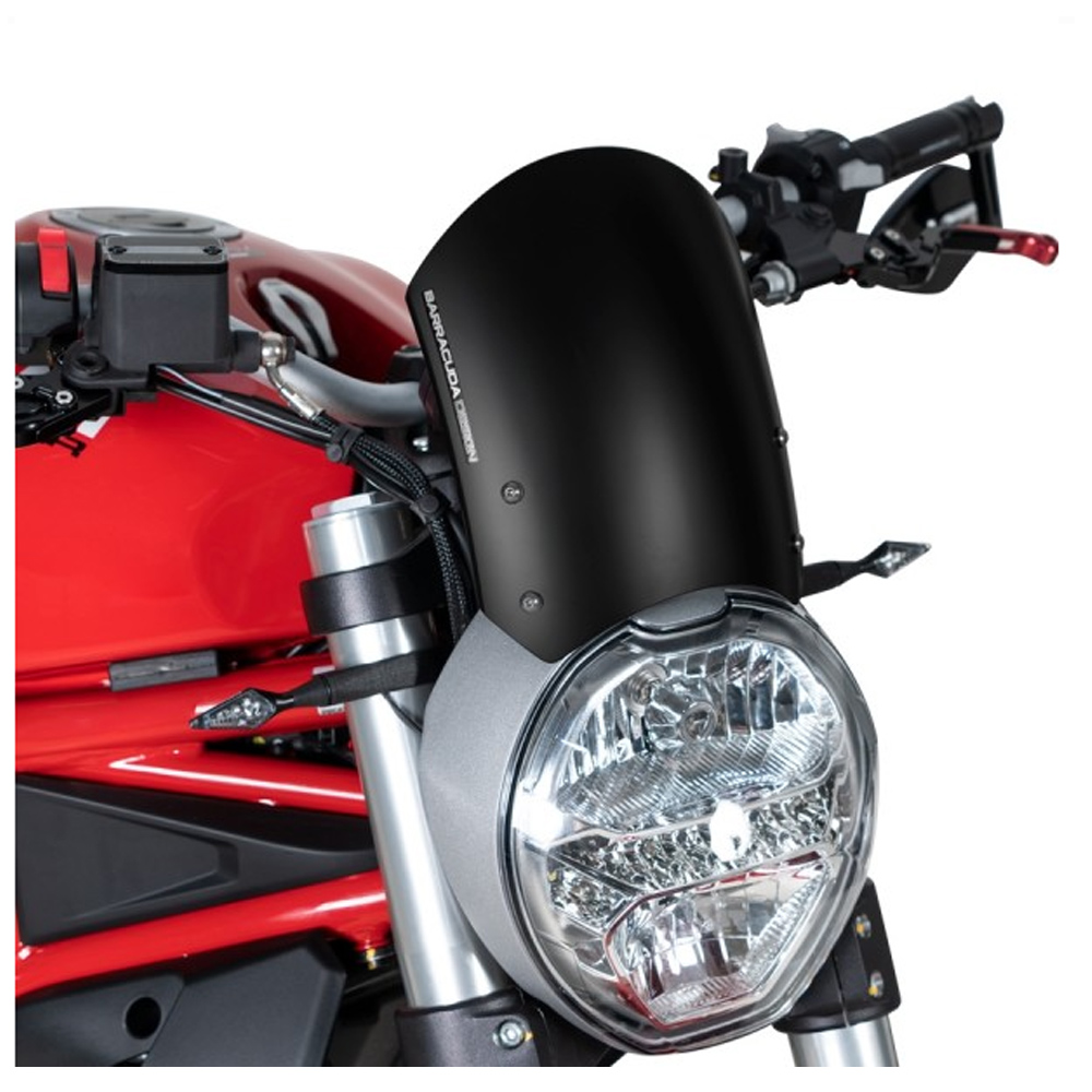 Barracuda Windschild Aerosport Aluminium Schwarz für Ducati Monster 796