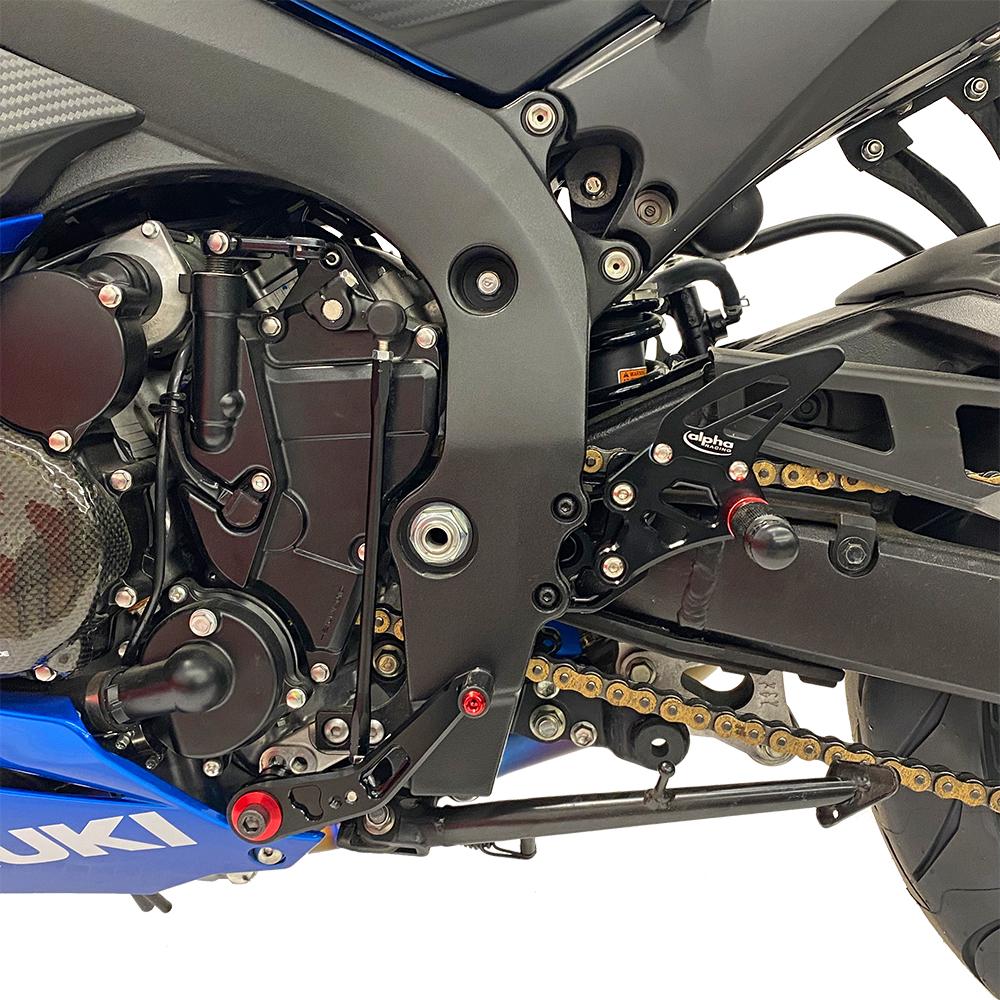 >TRACK< Fußrastenanlage schwarz Suzuki GSX-R750 2011-2017 mit ABE