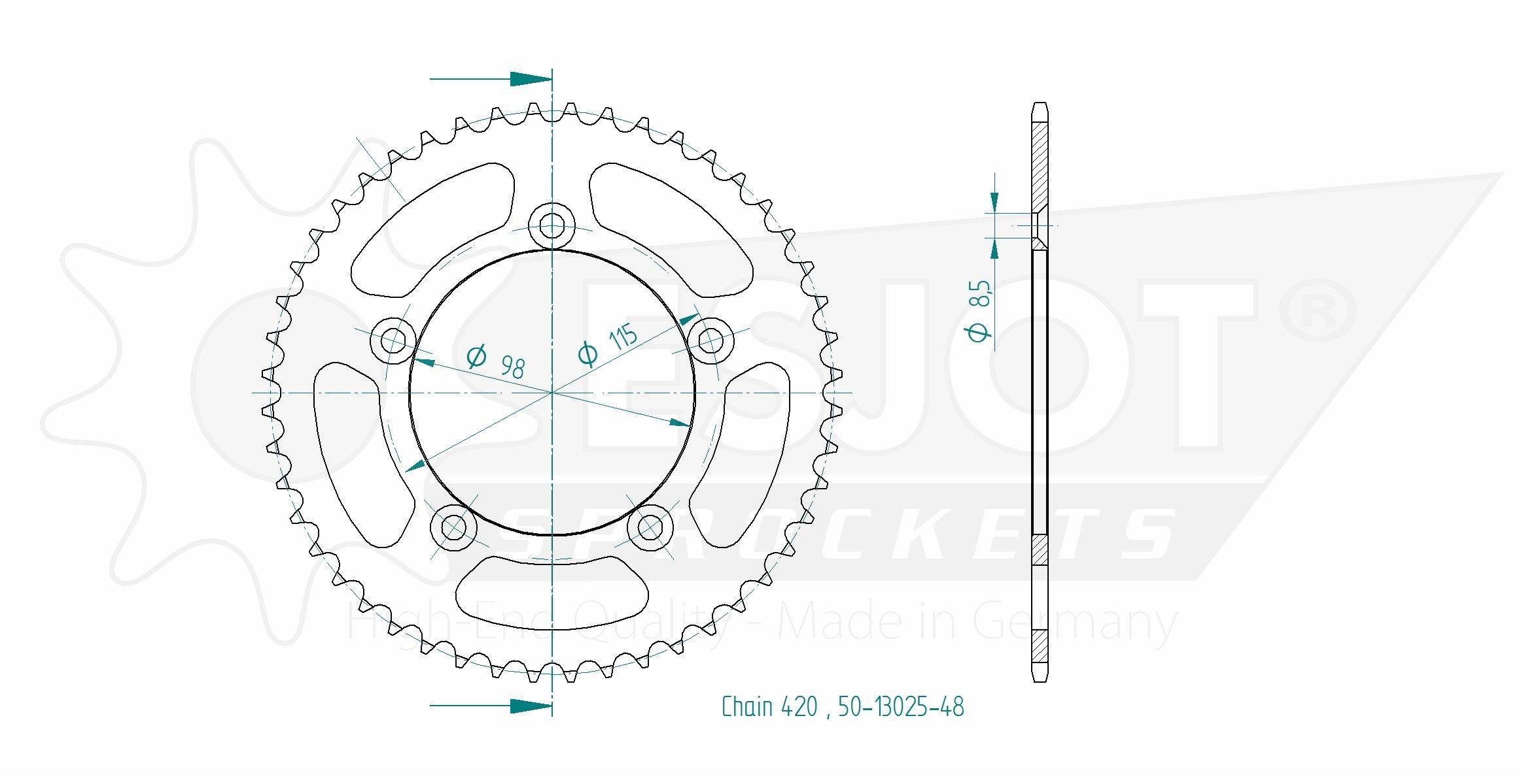 Esjot Kettenrad Z-44 KTM SX50 Pro Senior LC, Alu