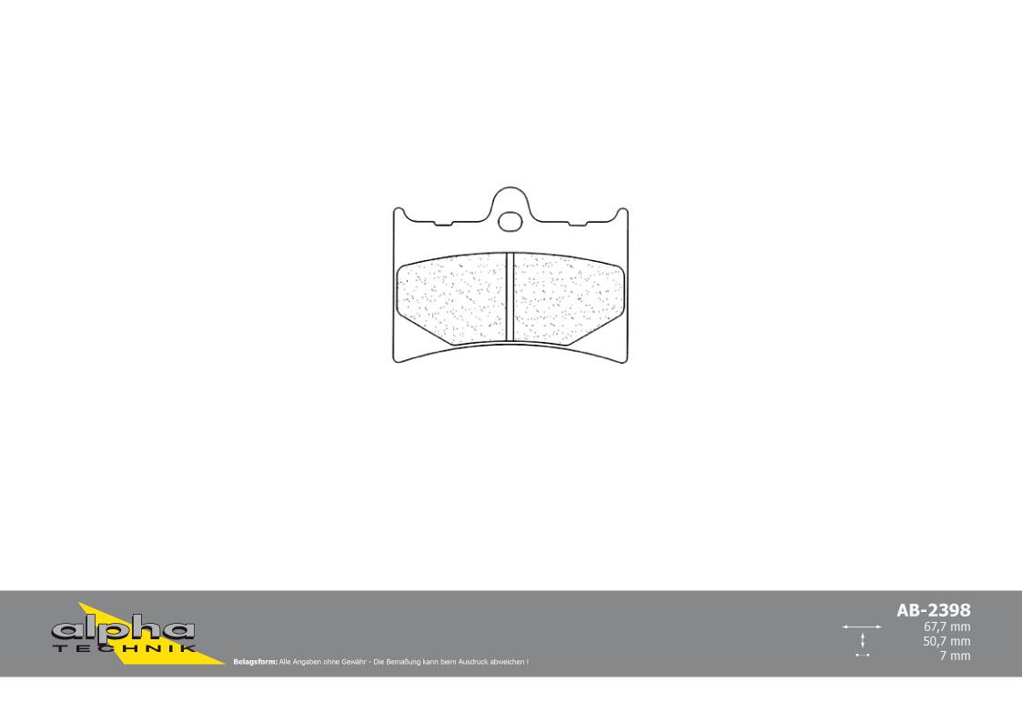 ALPHA TECHNIK Bremsbelag Racing ohne ABE