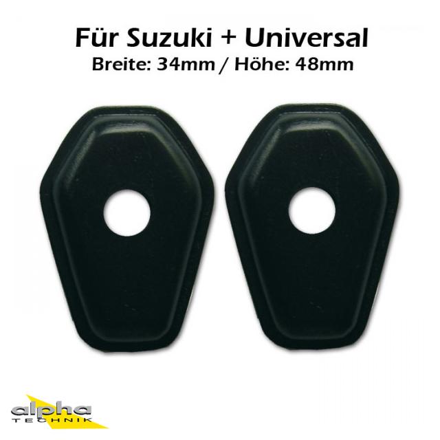 LED Mini Blinker Adapterplatten Verkleidung vorne für Suzuki und universal