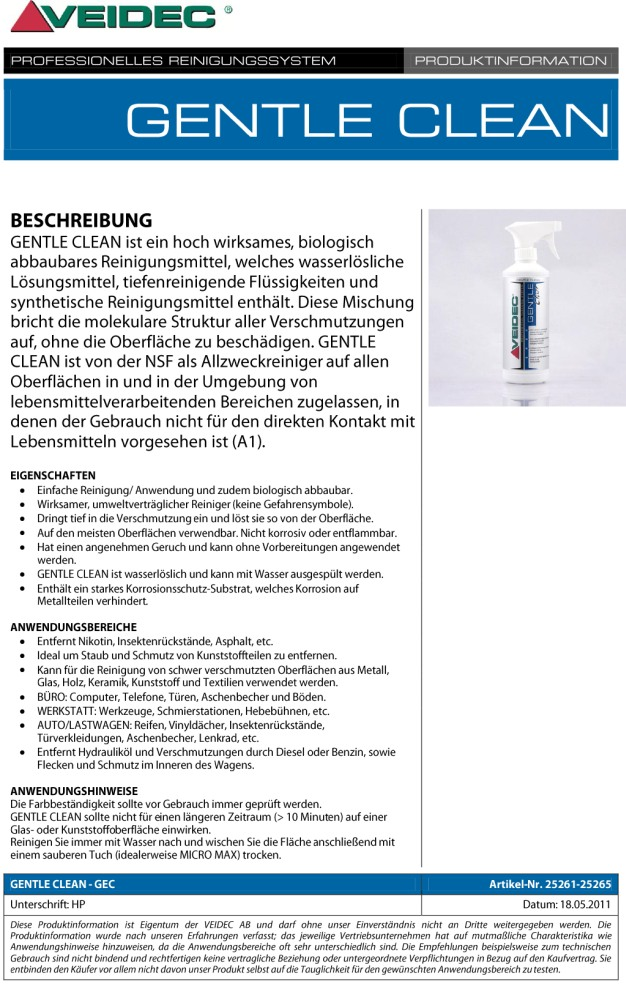 """VEIDEC - Biologischer Reiniger """"Gentle Clean 9"""""""
