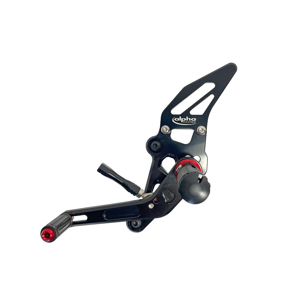 >TRACK< Fußrastenanlage schwarz Yamaha MT07 ab 2014 / MT07 Tracer ab 2017 / Tracer 700 ab 2018 / XSR700 ab 2016 ABE