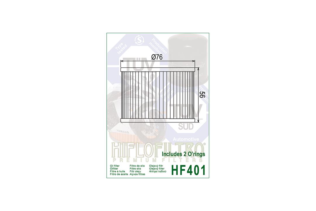 HIFLO Ölfilter HF401 für diverse Benelli / Bimota / Honda / Kawasaki / Yamaha Modelle mit O-Ring-Satz